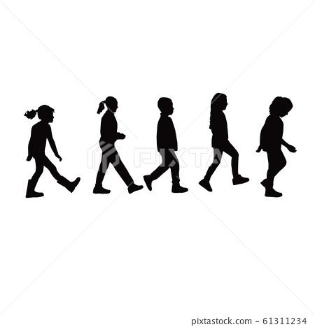 girls walking bodies silhouette vector 61311234