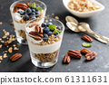 Blueberry parfait with ricotta cheese, granola and 61311631