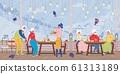 Happy Mature People Relaxing in Ski Alps Resort 61313189