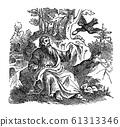Vintage Drawing of Biblical Prophet Elijah Fed by Ravens. Old Man and Raven. Bible, Old Testament, 1 Kings 17 61313346