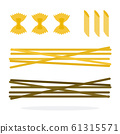 Spaghetti, Farfalle and Penne pasta flat isolated 61315571