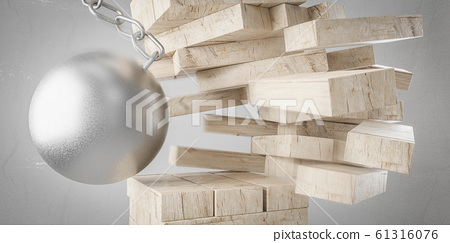 destruction concept of metal wrecking ball smashing board game falling tower of wooden blocks on grey background 3d render illustration 61316076