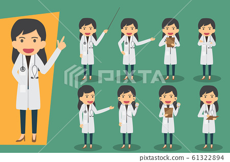 Group of female doctors, medical staff. Flat 61322894