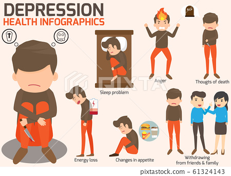 Depression signs and symptoms infographic concept. 61324143