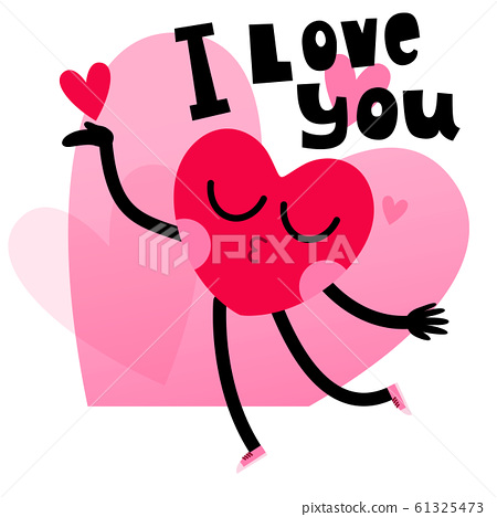 cute heart character greeting card with lettering 61325473