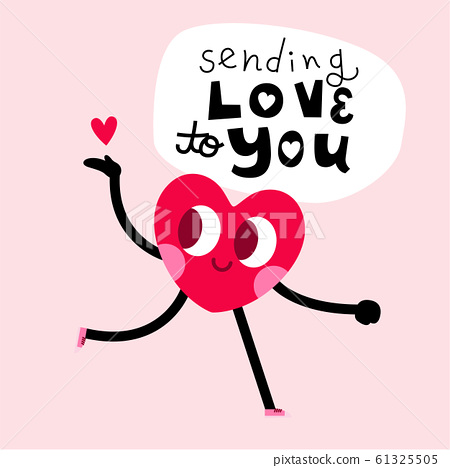 cute heart character greeting card with lettering 61325505