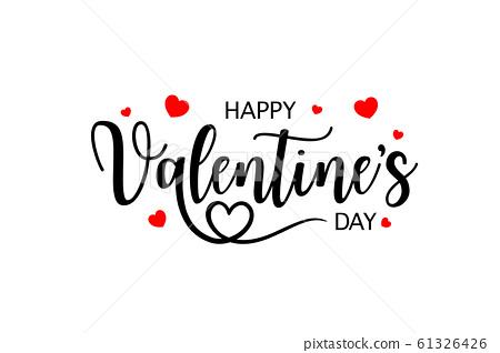 Happy Valentine's day typography design.  61326426