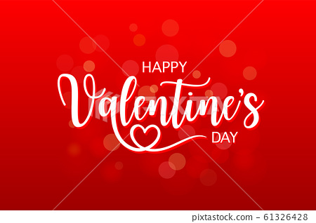 Happy Valentine's day typography design on red gradient background. 61326428