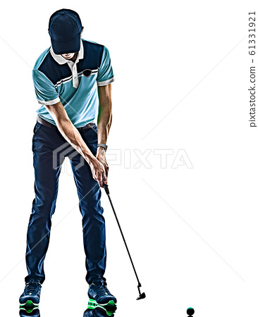 Man Golf golfer golfing isolated white background 61331921