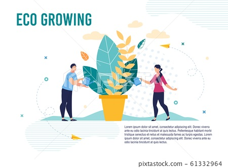 Eco Poster with People Taking Care of Plant in Pot 61332964