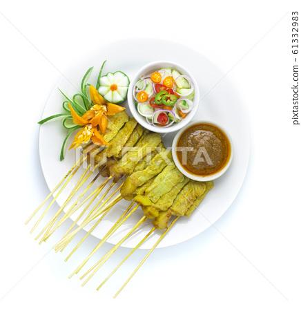 Pork Satay Served with Peanut Sauce 61332983