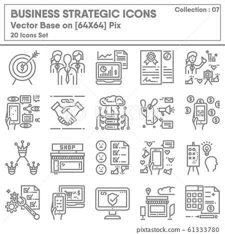 Business Strategic and Marketing Management Icon Set, Icon Collection of Strategy Success Plan.  61333780