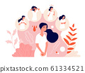 PMS. Female abdominal pain, menstrual syndrome and change behavior. Woman health, emotion and feelings. Vector premenstrual symptom concept 61334521