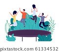 Trampoline jumping. Young happy people jump, teens activity. Entertainments in park, friends outdoor jumps. Active persons vector concept 61334532