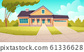 Suburban cottage, residential house with garage 61336628