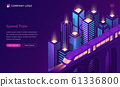 Speed train electric subway isometric landing page 61336800