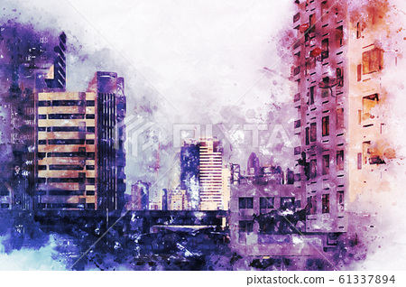 Abstract offices Building in the city on watercolor painting background. City on Digital illustration brush to art. 61337894