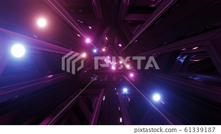 glowing spheres fly throgh tunnel corridor with glass windows 3d illustrations backgrounds wallpaper graphic artwork 61339187