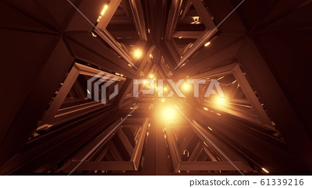 glowing spheres fly throgh tunnel corridor with glass windows 3d illustrations backgrounds wallpaper graphic artwork 61339216