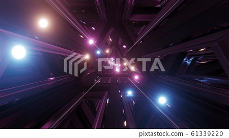glowing spheres fly throgh tunnel corridor with glass windows 3d illustrations backgrounds wallpaper graphic artwork 61339220