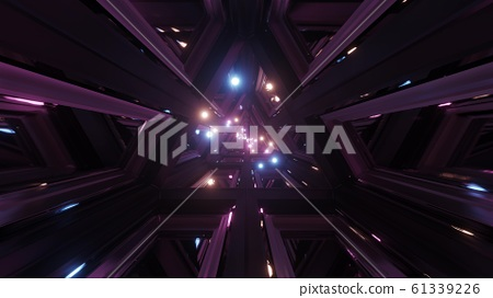 glowing spheres fly throgh tunnel corridor with glass windows 3d illustrations backgrounds wallpaper graphic artwork 61339226