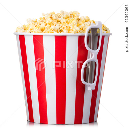 Paper striped bucket with popcorn and 3D glasses isolated on white background 61342068