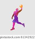 Basketball player Slam Dunk Color Vector Silhouette 61342922