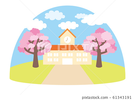 View of spring kindergarten where cherry blossoms dance [dome type] 61343191