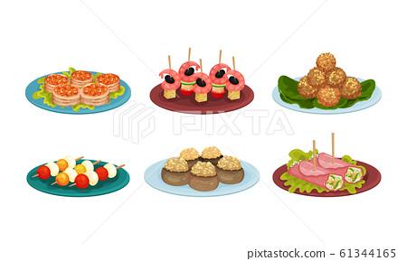 Light Snacks and Bites Served on Plates Side View Vector Illustrations Set 61344165