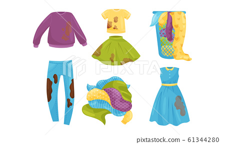 Pile of Dirty Clothes Lying on Floor and Dirty Clothing Items Isolated on White Background Vector Set 61344280