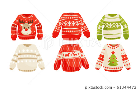 Cozy Warm Sweaters with Christmas Holiday Prints Vector Set 61344472