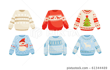Cozy Warm Sweaters with Christmas Holiday Prints Vector Set 61344489