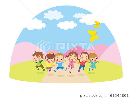 歡快的孩子們在櫻花盛開的春日跳起大自然[圓頂類型] 61344801