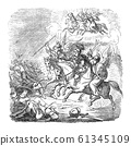 Vintage Drawing of Biblical Story of Warrior Judas Maccabeus Beating the Army of Syrian Kingdom. Bible, Old Testament, 1 Maccabees 3. 61345109