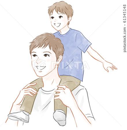 父母和孩子的肩膀車 61345148