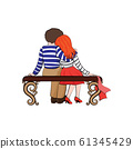 The boy and the girl in love are sitting on the bench. Vector. Valentine's Day 61345429
