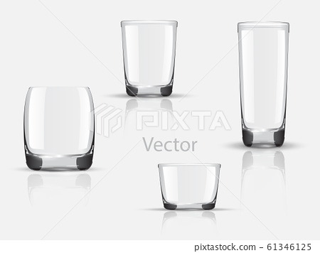 Empty realistic glasses set for different drinks and cocktails on gray background isolated vector illustration. Collection of various glasses isolated on gray. Empty. Non transparent gradient mesh 61346125