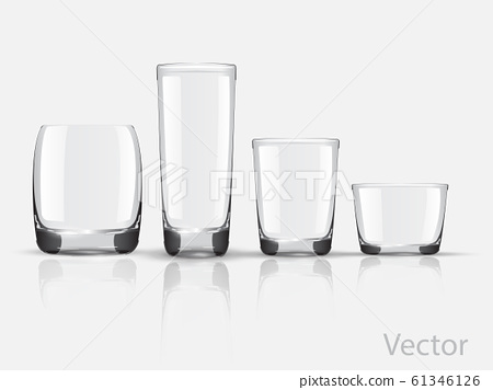 Empty realistic glasses set for different drinks and cocktails on gray background isolated vector illustration. Collection of various glasses isolated on gray. Empty. Non transparent gradient mesh 61346126