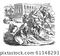 Vintage Drawing of Biblical Story of Massacre of Innocents. Soldiers Killing Babies or Infants, Mothers are Crying.Bible, New Testament, Matthew 2 61348293