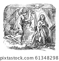 Vintage Drawing of Biblical Story of Angel Gabriel Speaking to Virgin Mary about Immaculate Conception and Birth of Jesus.Bible, New Testament, Luke 1 61348298
