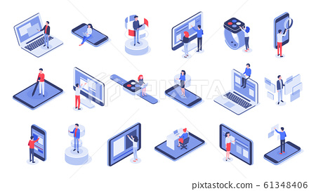 Isometric user interface. Online office, device interactions and touch mobile interfaces 3d vector set 61348406
