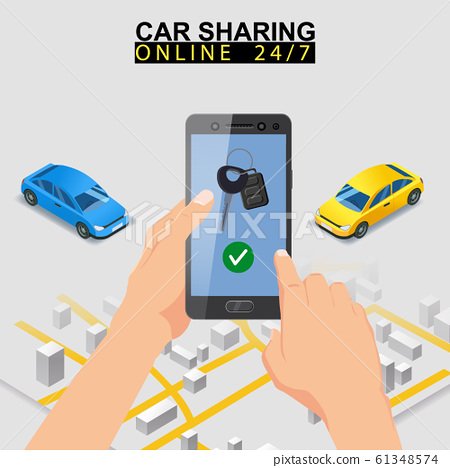 Car sharing isometric. Smartphone screen with city map route and points location car. Online mobile application order service. Vector illustration for car sharing service advertisement, promotion 61348574