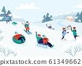 Kids riding sledding slide. Snow landscape, winter snowy fun activities vector illustration 61349662