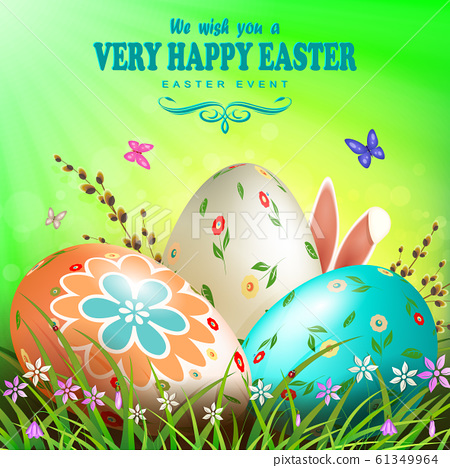 Easter composition of green color with Easter eggs, grass with flowers, willow branch, butterflies and rabbit ears 61349964