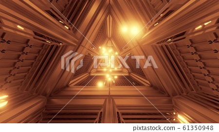glowing spheres particles fly through triangle space tunnel corridor 3d illustration backgrounds wallpaper graphics artworks 61350948