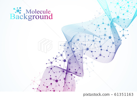 Colorful molecules background. DNA helix, DNA strand, DNA Test. Molecule or atom, neurons. Abstract structure for science or medical background, banner. Scientific molecular vector illustration 61351163