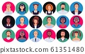 Call center operator. Customer support worker portrait, round avatar hotline contact and supporting person vector set 61351480