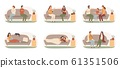 People on sofas. Happy healthy adults on couch, recovering sickness family and people on sofa basking under blanket vector set 61351506