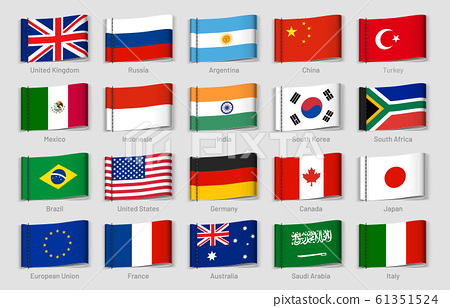 National flags fabric tags. G20 countries labels, official country flag tag vector set 61351524