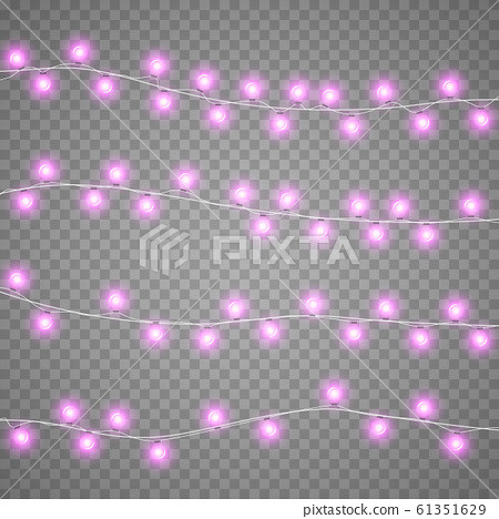 Christmas garlands isolation on transparent background. Xmas realistic overlay garland lights card. Holidays decorations bright garlands lamps. Vector gloving garland illustration